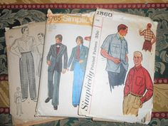 Simplicity printed pattern for Men by MinaLucinda on Etsy, $25.00