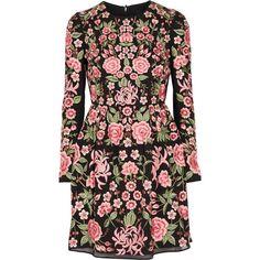 Needle & Thread Tulle-trimmed embroidered crepe mini dress (11 390 UAH) ❤ liked on Polyvore featuring dresses, black, sleeved dresses, beaded mini dress, rosette dress, panel dresses and mini dress