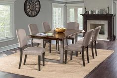 Hillsdale Furniture 5925DTBC Emerson 5-Piece Rectangle Dining Set - Gray Sheesham