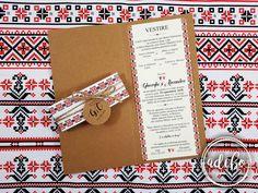 Invitatie nunta cu motive traditionale romanesti