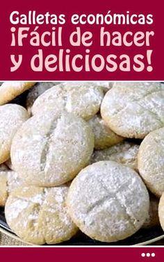 Galletas económicas. ¡Fácil de hacer y deliciosas! Cookie Recipes, Dessert Recipes, Desserts, Mantecaditos, Cookie Frosting, Churros, Empanadas, Catering, Bakery