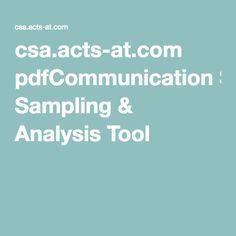 csa.acts-at.com pdfCommunication Sampling & Analysis Tool
