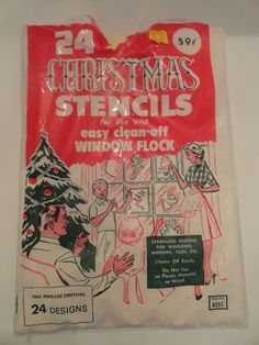 Vintage 1969 Christmas Stencils to use with Spray Flocking - We did this in our home growing up!!