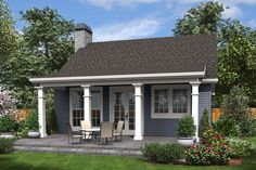 Small Plan: 960 Square Feet, 2 Bedrooms, 1 Bathroom - 2559-00688 One Bedroom House Plans, Guest House Plans, Small Cottage House Plans, Pool House Plans, Small Cottage Homes, Small Cottages, Tiny Guest House, Guest Cottage Plans, Small Guest Houses