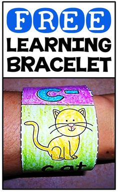 FREE word work learning bracelets for beginning, middle & ending sounds, blends & digraphs & CVC words Preschool Letters, Kindergarten Literacy, Kindergarten Reading, Teaching Reading, Word Work Activities, Literacy Activities, Literacy Stations, Cvc Words, Word Families