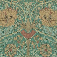 Honeysuckle and Tulip Wallpaper A Honeysuckle & Tulip design in emerald and russet, this wonderful design from the Morris & Co collection was first produced in 1876.
