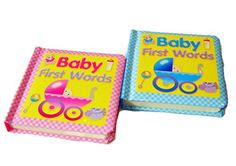 NEW SET 2 BABY FIRST WORDS PADDED COVER PICTURE BOARD BOOKS BOY GIRL PINK BLUE