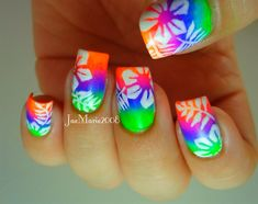 Summer Neon Nail Hawaiian Tropical Print - Nail Art Gallery