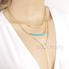 $2.99 Blue Beads Multilayer Necklace Posh Gold Plate Tassel Chain Sweater Necklace - BornPrettyStore.com