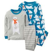 Note: To help keep children safe, cotton pjs should always fit snugly. With a cute scarf and soft cotton rib, these polar bears will keep him warm and snug on snowy nights.<br>