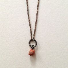 Vintage brass chain with antique coral pendant on Etsy, $45.00