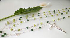 Lazo para Boda PIRINEOS, Jade verde , Cristal cortado y chapa de Rodio. Muy original!