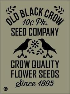 Vintage Grocery Advertising Stencil   Details about Primitive Stencil, OLD BLACK CROW SEED COMPANY Vintage ...