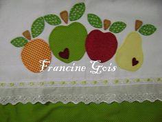 Pano de copa Frutas by Francine Gois, via Flickr,MUITO LINDO DE FAZER,APLICAÇÕES EM PANOS DE PRATO
