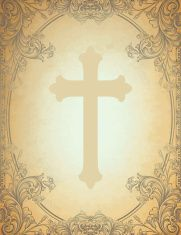 Engraved Floral Cross Frame vector art illustration