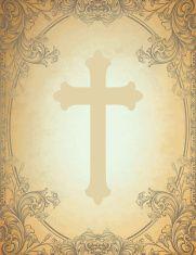 Engraved Floral Cross Frame vector art illustration