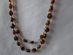 """Handmade Two Strand Necklace Set -Coke Colors, Gold Beads-Necklace  26 1/2"""" - Bracelet  7 1/2 """" Elastic -   2"""" Earrings - Lobster Clasp by LsFindsandCreations on Etsy"""