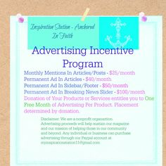 Be the first individual or business to advertise with the newest online magazine dedicated to serving others. What are you waiting for? Advertise Now!