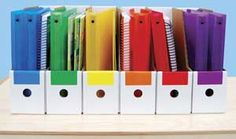 Manual Organizers - Organize spiral-bound manuals, binders, folders and more! Six organizers feature finger pulls and color-code labels in six colors for easy identification. Made in the U.S.A. from recycled corrugated fiberboard.
