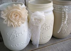3 mason jars, Whites, Shabby Chic, Wedding, distressed, pint jar, Lace, Pearls, Cottage, Off white, Flower Vases