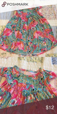 GIRLS Pink Flamingo Flutter Lap Dress Worn only once! No brand, bought from online boutique. Dresses