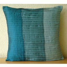 Shades Of Teal - Throw Pillow Covers - 16x16 Inches Silk Pillow Cover in Shades of Teal & Blue $18.70 from TheHomeCentric on Etsy