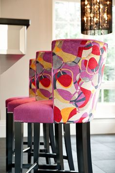 High back bar stools with nailing detail and contrasting fabrics to back and seat © Hill House Interiors