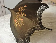 Stunning Antique Art Nouveau Embroidered Silk Lace Pagoda Parasol Umbrella | eBay | JV