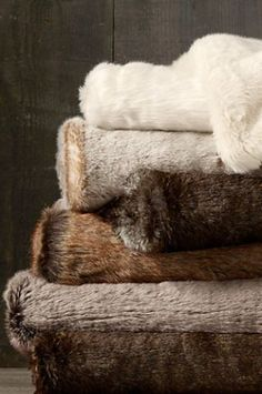 """Restoration Hardware Faux Fur Throw. I bought this in """"sable"""". It is the coziest throw I have ever had!"""
