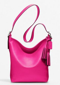 NWT Coach Legacy Leather Duffle, Fuschia/Silver,Large