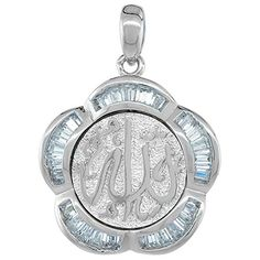 Sterling Silver ALLAH Floral Islamic CZ Pendant 1316 inch in diameter >>> You can find more details by visiting the image link.