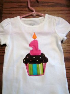 Custom Boutique Applique Cupcake Birthday Shirt by CaneyBoutique, $18.00