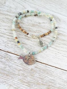Monogram necklace for beach lovers, fish lovers, gift for her, Amazonite, initial necklace, Kellyfish Jewelry