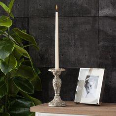 Świecznik Loreta 11x22cm silver, 11x22cm - Dekoria