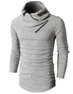 #Mens style Casual Turtleneck Slim Fit Pullover Sweater Oblique Line Bottom Edge (KMTTL047) #doublju