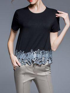 #AdoreWe #StyleWe SELECTE Black Short Sleeve Crew Neck Plain Cutout T-Shirt - AdoreWe.com