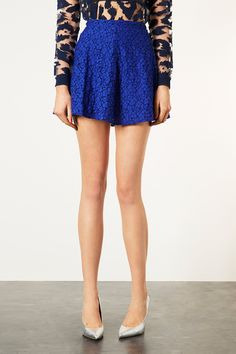TOPSHOP INDIGO LACE SKATER SKIRT Price: $50.00 Color: INDIGO