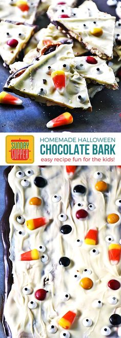 Make this easy recipe for Halloween Chocolate Bark with the kids! It is sure to be one of your go-to, fun Halloween Finger foods! Halloween Chocolate Bark is a quick and easy recipe. This homemade chocolate candy makes a fun treat for kids and adults alike! The kids will love decorating the chocolate bark and the pretzels sandwiched between the chocolate layers adds a salty twist to this sweet treat everyone will love! #SundaySupper #HalloweenFingerFoods #HalloweenChocolateBark