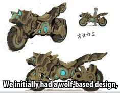Initial wolf-based concept design for the Master Cycle Zero in Breath of the Wild Master Sword, Legend Of Zelda Memes, Legend Of Zelda Breath, Master Cycle, Unicorn Bike, Image Zelda, Armadura Cosplay, Character Art, Character Design