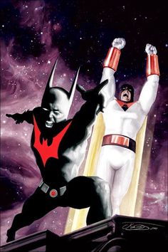 Original Comic Art titled Space Ghost and Batman Beyond , located in james 's Art For Sale Comic Art Gallery Space Ghost, Hanna Barbera, Comic Book Heroes, Comic Books Art, Book Art, Crossover, Batman Beyond, Batman Vs Superman, Spiderman