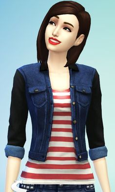 """Sims 4 Updates : Denim """"Leather"""" Jacket at JC's Sims 4"""