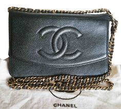 Sold Authentic Vintage Chanel Woc Black Caviar Bag As Seen On Lady Gaga And Jenn Garner Made In France Comes With Dustbag Roximately Strap