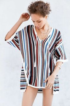 Ecote Vert Stripe Beach Tunic Sweater - Urban Outfitters