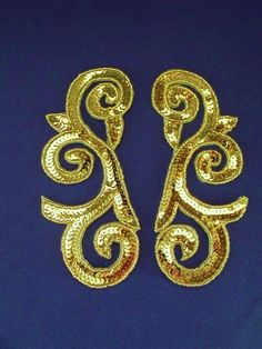 P-046 Gold large swirl pair- Sequin Appliques, Belly Dance, Burlesque, Tutu, Sequins, Pairs, Costumes, Beads, Earrings
