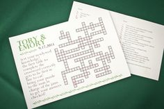 fun idea - table crossword, winner gets to eat first! Wedding Prep, Wedding Dinner, Wedding Rehearsal, Wedding Fun, Summer Wedding, Wedding Planning, Wedding Ideas, Rehearsal Dinner Activities, Wedding Reception Activities