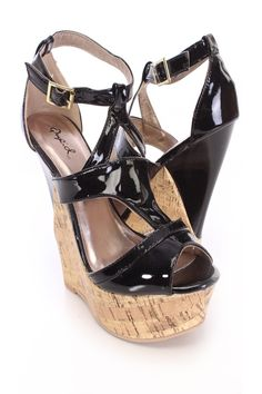 Rev your style up with these simple yet edgy wedges! This style goes great with your fave skinnies, a chic crop top and finish with a spike necklace. Featuring patent faux leather upper, peep toe, cutout front, ankle strap with side zipper closure, cork platform, stitched detailing, and finished with a cushioned footbed. Approximately 5 1/2 inch heel and 1 1/2 inch platform. Shoes Wedges Boots, Wedge Boots, Womens Shoes Wedges, Wedge Sandals, Spring Shoes, Summer Shoes, Spike Necklace, Cork Wedges, Prom Shoes