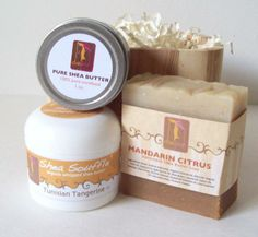Citrus Natural Wooden Gift Set with Mandarin Citrus Natural Soap & Organic Tangerine  Shea Souffle with Essential oil