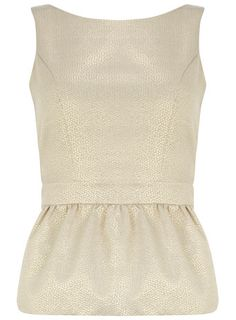 Gold Jaquard Peplum Top - perfect for the holidays!