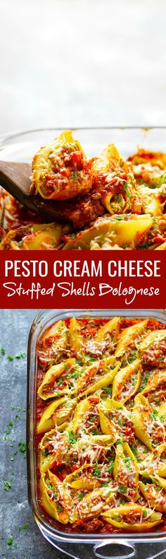 Pesto Cream Cheese Stuffed Shells Bolognese - Stuffed with a rich pesto cream cheese and baked in a flavorful homemade bolognese sauce, this cream cheese stuffed shells bolognese tastes like authentic Italian food, only made SUPER fast and easy!