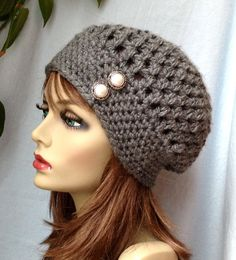 Crochet Womens Hat Slouchy Beret Charcoal Gray